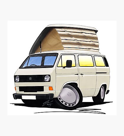 VW T25 / T3 White (Open Pop Top) Photographic Print