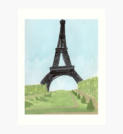 Eiffel Tower, Watercolor and India Ink Art Print