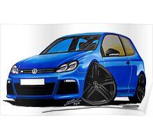 VW Golf R Blue (Black Wheels) Poster