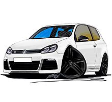 VW Golf R White (Black Wheels) Photographic Print