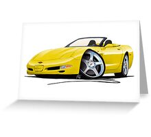 Chevrolet Corvette C5 Convertible Yellow Greeting Card