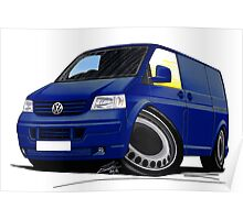 VW T5 Transporter Van Indian Blue Poster