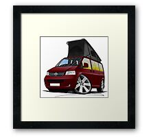 VW T5 California Camper Van Dark Red Framed Print