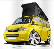 VW T5 California Camper Van Yellow Poster