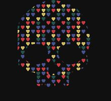 """""""All Heart"""" Skull Hearts Bones Primary Colors Bright Red Blue Yellow Green  Womens Fitted T-Shirt"""