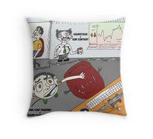 Le bureau comique de trading Throw Pillow