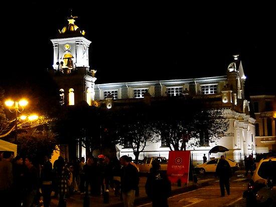 Old Cathedral At Night, Cuenca, Ecuador by Al Bourassa