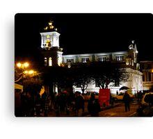 Old Cathedral At Night, Cuenca, Ecuador Canvas Print