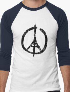 Pray For Paris Peace Sign Men's Baseball ¾ T-Shirt