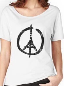 Pray For Paris Peace Sign Women's Relaxed Fit T-Shirt