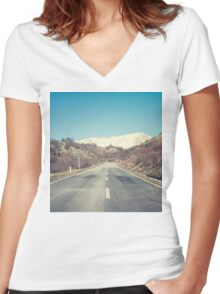 Road with mountain Women's Fitted V-Neck T-Shirt