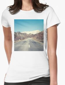 Road with mountain Womens Fitted T-Shirt