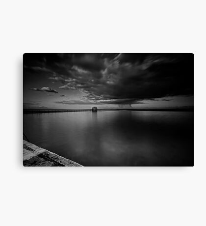 Incoming Storm, Merewether Ocean Baths, mono Canvas Print