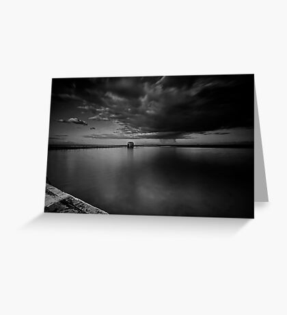 Incoming Storm, Merewether Ocean Baths, mono Greeting Card