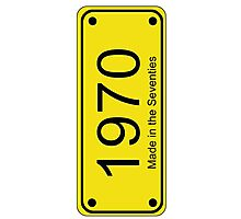 70s License Plate iPhone Cover ~ 1970 ~ Born in the Seventies Case Photographic Print