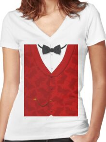 Victoriana - Bow Tie, Waistcoat and Watch Women's Fitted V-Neck T-Shirt