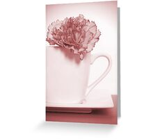 Carnation in Teacup, Red Greeting Card