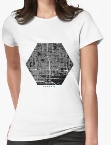 Phoenix city map black colour Womens Fitted T-Shirt
