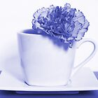 Carnation in Teacup, Blue by MelissaSue
