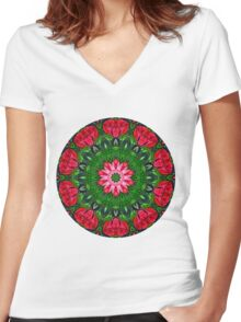 Abstract Roses Mandla 2 Women's Fitted V-Neck T-Shirt