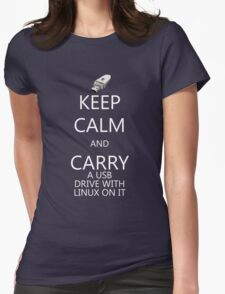Keep Calm and Carry Linux Womens Fitted T-Shirt
