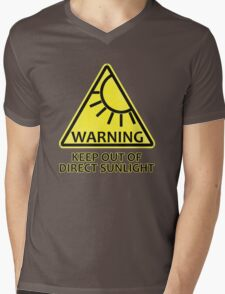 Warning: Keep Out of Direct Sunlight Mens V-Neck T-Shirt