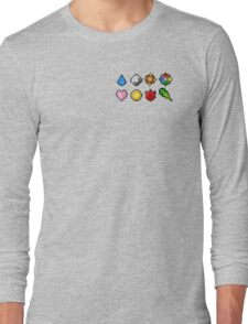 Pokemon Badge Sprites (Kanto Only) Long Sleeve T-Shirt