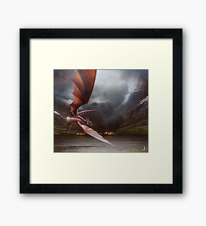Smaug Burns Lake-Town Framed Print