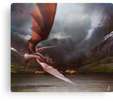 Smaug Burns Lake-Town Canvas Print