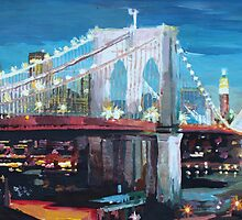 New York City - Manhattan Bridge at Night by artshop77