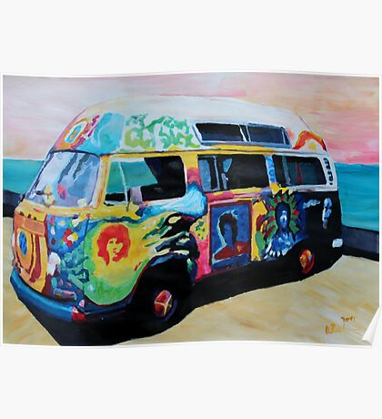 Surf Bus Series:  Here Comes the Sun Surf Bus Poster