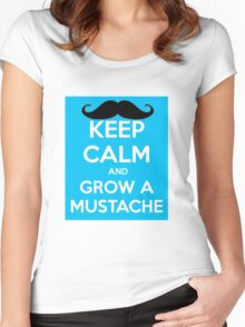 KEEP CALM AND GROW A MUSTACHE Women's Fitted Scoop T-Shirt