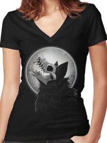 Skull Wolf Howl Women's Fitted V-Neck T-Shirt