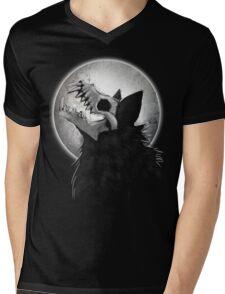 Skull Wolf Howl Mens V-Neck T-Shirt