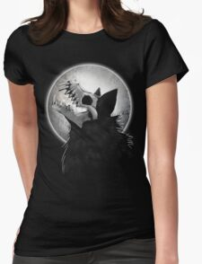 Skull Wolf Howl Womens Fitted T-Shirt