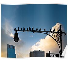 New York Is For The Birds - Manhattan Urban Sillhouette Poster