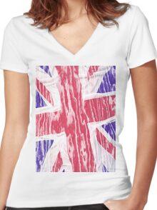 Flag England Women's Fitted V-Neck T-Shirt