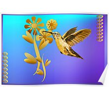 Gold Hummingbird Wider Poster Poster