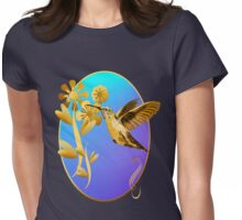 Gold Hummingbird Oval Womens Fitted T-Shirt