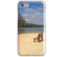 Bench on an empty beach iPhone Case/Skin