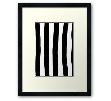 Black and White Paintbrush Stripes Framed Print