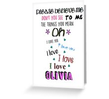 One Direction - Olivia Greeting Card