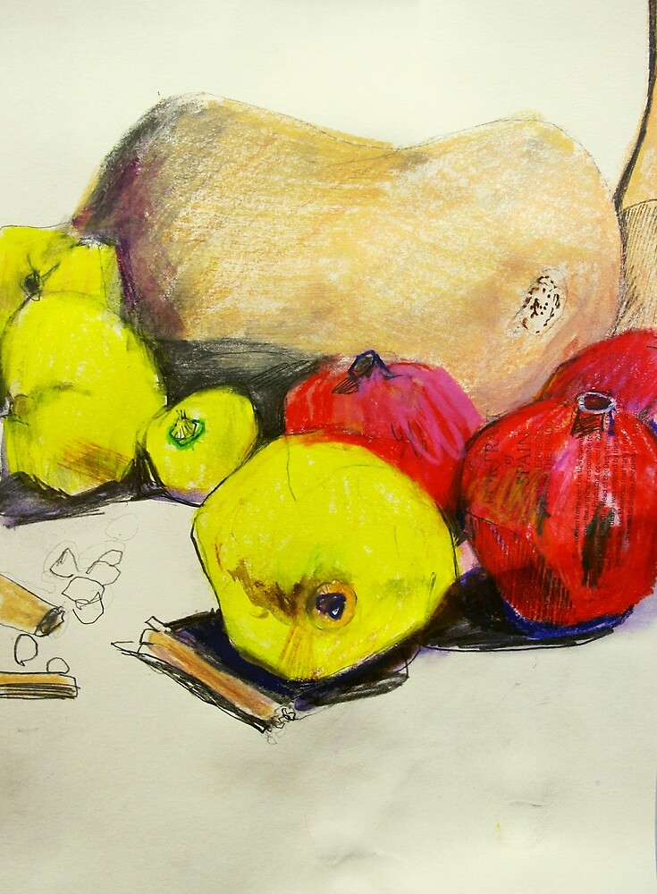 butternut with pink and yellow fruit by donna malone