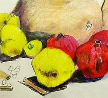 butternut with pink and yellow fruit by donnamalone