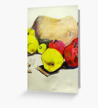 butternut with pink and yellow fruit Greeting Card
