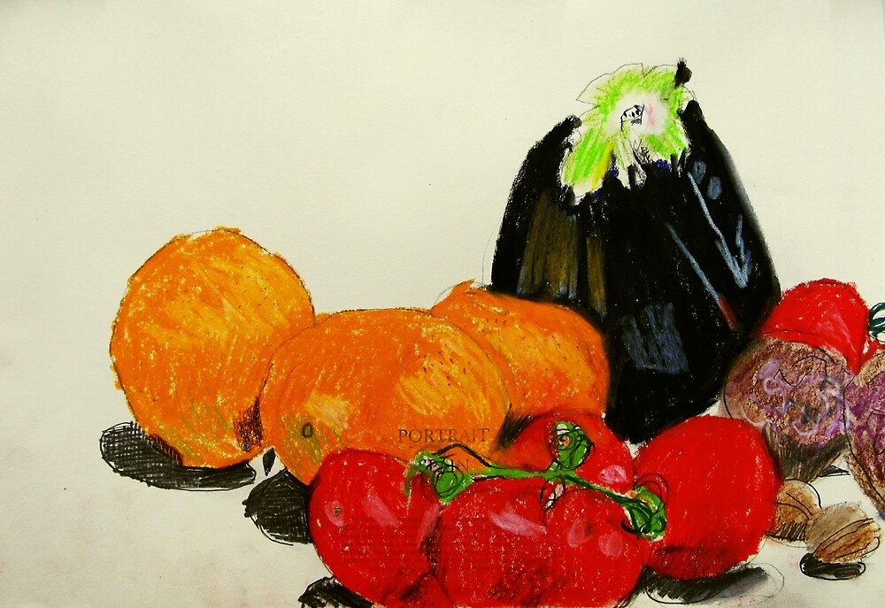 eggplant and tomatoes by donna malone