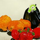 eggplant and tomatoes by donnamalone
