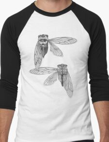 Cicada Study in Black and White Men's Baseball ¾ T-Shirt