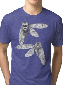 Cicada Study in Black and White Tri-blend T-Shirt