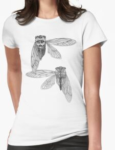 Cicada Study in Black and White Womens Fitted T-Shirt